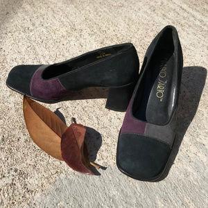 Franco Sarto suede patchwork square heels 7.5